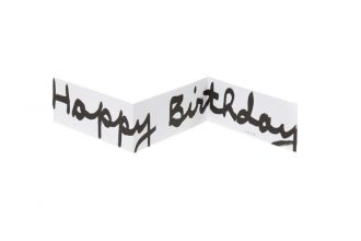 כרטיס ברכה קונצרטינה Happy birthday בצבע לבן